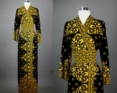 Vintage 1960s 1970s 70s Bohemian Resort Ethnic theme MAURICE caftan style party hostess dress S