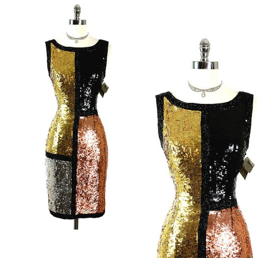 RESERVED Vintage 80s Neiman Marcus NOS  SIlk Sequins Sizzling Hot Party Mini Dress S