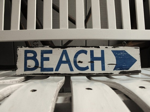 SALE--Vintage-Style BEACH Sign with Arrow