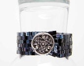 "Black Steampunk Bracelet 4mm Glass Cube Beads Beadweaving, Plus Size - ""Coal Black Steam"" by Whimsy Beading"