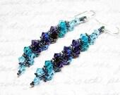 Swarovski Crystal Long Earrings Custom Colors