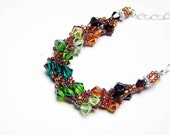 "Emerald Green Swarovski Necklace Mocca Crystal Copper Emerald Peridot Fern Green Beadweaving Sterling Silver - ""Irish Summer"""