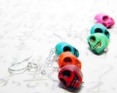 Candy Skulls Earrings, Halloween Multicolor Dyed Howlite Skull Beads, Sterling Silver French Hooks