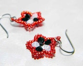 "Red Black and White Star Earrings Beadweaving Silver Niobium  - ""Meg's Stars"""