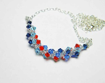 "Hyacinth Sapphire Swarovski Crystal Necklace Sterling Silver Beadweaving - ""Koi Pond"" by Whimsy Beading"