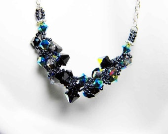 "Gothic Swarovski Crystal Necklace Jet AB, Hematite Black, Sterling Silver - ""Dark Star"" by Whimsy Beading"