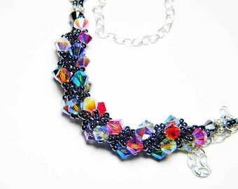 """Swarvoski Crystal 2X AB Necklace Hematite Black Sterling Silver Beadweaving - """"Midnight Carnival"""" by Whimsy Beading"""