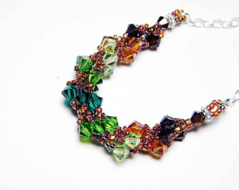 "Emerald Green Swarovski Necklace Mocca Crystal Copper Emerald Peridot Fern Green Beadweaving Sterling Silver - ""Irish Summer"""