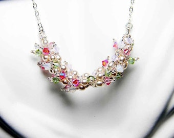"Swarovski Crystal Necklace with Rose Water Opal, Glass Pearls, Sterling Silver - ""Cherry Blossoms"" by Whimsy Beading"