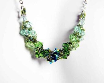 "Peridot Swarovski Crystal Necklace Chrysolite, Fern Green, Peridot, Jet 2X AB Beadweaving - "" Verdant Spiral"""
