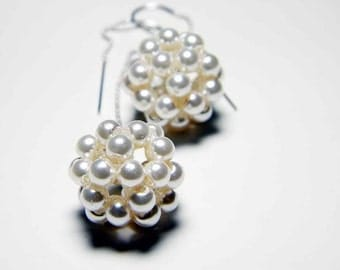 "Cream Glass Pearl Long Dangle Earrings, Beadweaving, Sterling Silver - ""Darling Mine"" by Whimsy Beading"