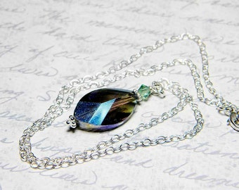 "Firefly Inspired Necklace Faceted Iridescent Green Leaf Crystal, Erinite Swarovski, Sterling Silver - ""Leaf on the Wind"" by Whimsy Beading"
