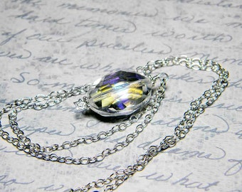"Ready to Ship Crystal AB Oval Necklace, Sterling Silver - ""Celestial Mirror"""