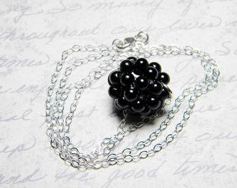 """Black Glass Pearl Necklace Beadweaving Sterling Silver - """"Floating Pearls II"""" by Whimsy Beading"""