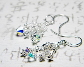 """Crystal AB Swarovski Dangle Earrings, Sterling Silver - """"Stardust"""" by Whimsy Beading"""