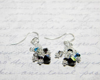 "Black Swarovski Crystal Dangle Earrings, Black Diamond, Crystal Silver Night, Jet 2X AB, Sterling Silver - ""Dark Matter"" by Whimsy Beading"