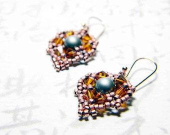 "Swarovski Powder Green Pearl Earrings Crystal Copper Bright Copper Delica - ""Copper Beech"""