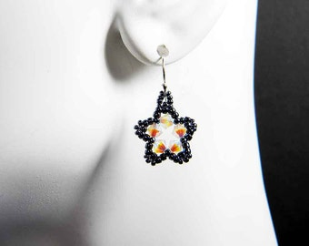 Custom Color Star Earrings Beadweaving Sterling Silver