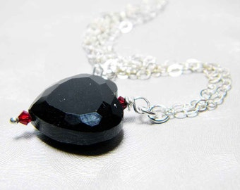 "READY TO SHIP Jet Black Crystal Heart Necklace Sterling Silver - ""Cold Hearted"""