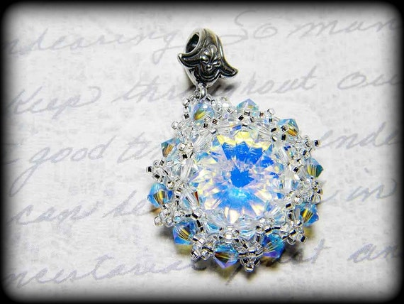 "DISCONTINUED 50% OFF Discworld Inspired Swarovski Crystal Pendant Beadweaving Rivoli - ""The Wintersmith's Offering"""