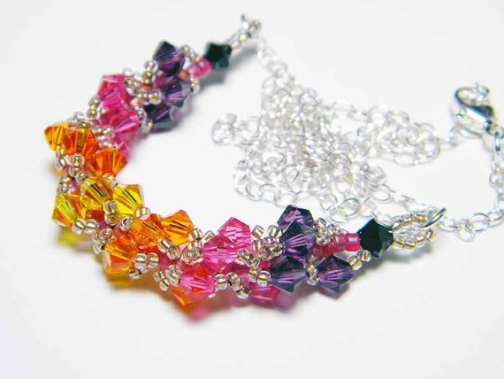 "Sunset Orange and Pink Swarovski Crystal Necklace Beadweaving Sterling Silver - ""Risika's Brilliant Sunset"""