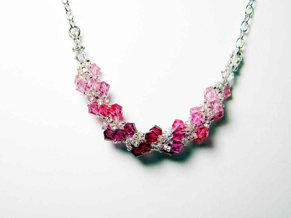 """Pink Swarovski Crystal Necklace Ruby, Rose, Light Rose, Indian Pink, Fuschia, Sterling Silver - """"Roses for Kerry"""" by Whimsy Beading"""