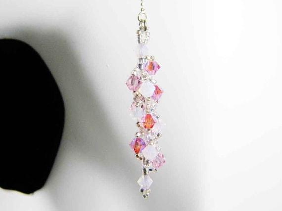 "Cherry Blossom Pink Swarovski Crystal Long Dangle Earrings Rose Water Opal, Light Rose, Rose 2X AB, Sterling Silver - ""Sakura"""