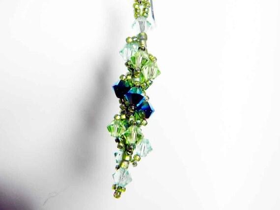 "Peridot Swarovski Crystal Earrings, Chrysolite, Peridot, Fern Green, Jet 2X AB, Sterling Silver - ""Verdant Spiral"" by Whimsy Beading"