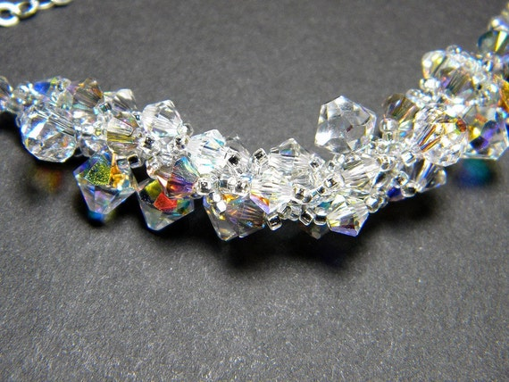 """Swarovski Crystal Necklace Crystal AB Silver Shade Crystal AB Satin, Beadweaving, Sterling Silver - """"Pulsar"""" by Whimsy Beading"""