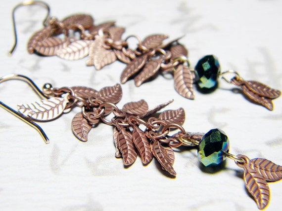 """Antique Copper Leaves Dangle Earrings Forest Green Roundelle, Rose Gold Plated - """"Exquisite Leaves"""" by Whimsy Beading"""