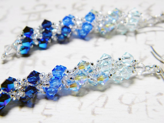 "Water Blue Swarovski Crystal Earrings Light Azore, Light Sapphire 2X AB, Dark Indigo 2X AB, Sterling Silver - ""Shades of Water"""