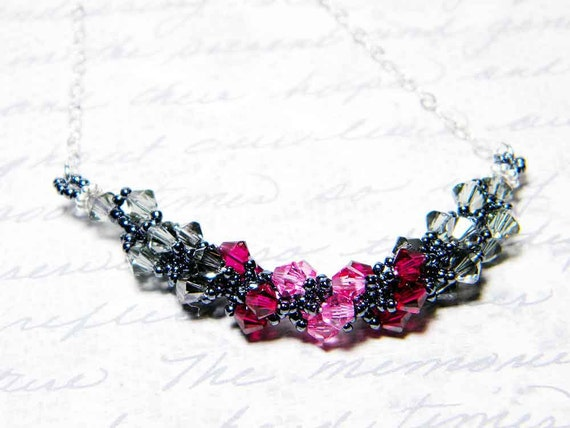 """Rose and Charcoal Grey Swarovksi Crystal Necklace Black Diamond Beadweaving - """"Sophie"""""""