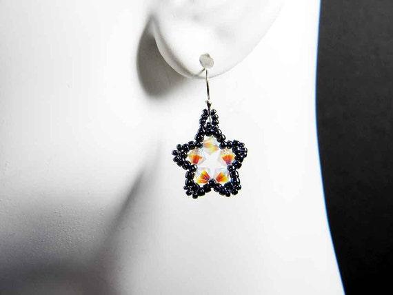 Custom Color Star Earrings Beadweaving Sterling Silver