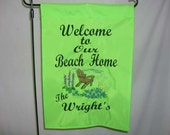 Personalized Embroidered Beach Scene Flag