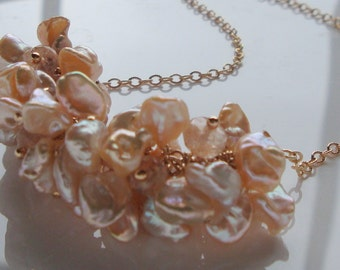 Peach Necklace Keishi Pearl Necklace Imperial Topaz Necklace - Demi Gemstone Garland Necklace