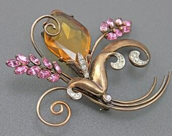 Sterling Rhinestone Vintage Floral Brooch