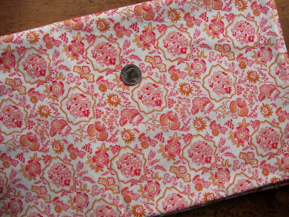 Cheerful Vintage Cotton Fabric - Cerise and Mustard Yellow - Two Yards
