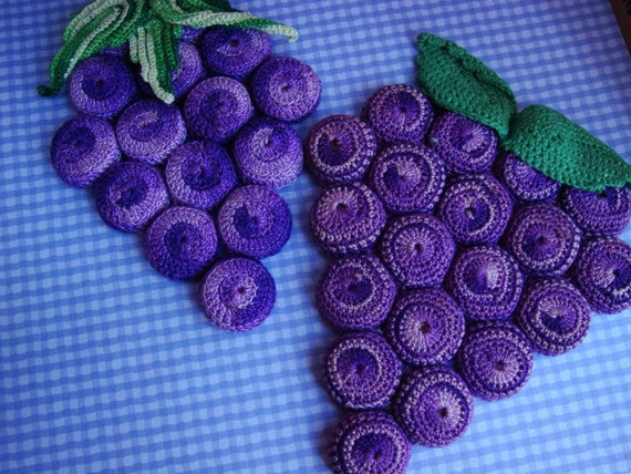 Pair of Vintage Handmade Grape Trivets or Hot Pads - Cute and Kitschy