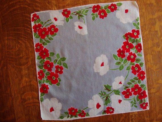 RESERVED FOR S JEN - - - -Sweet Vintage Hankie - Gray with Red Blossoms and White Poppies