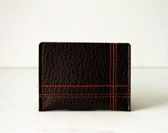 "minimalist wallet / card case : orange on brown - ""off the grid"""