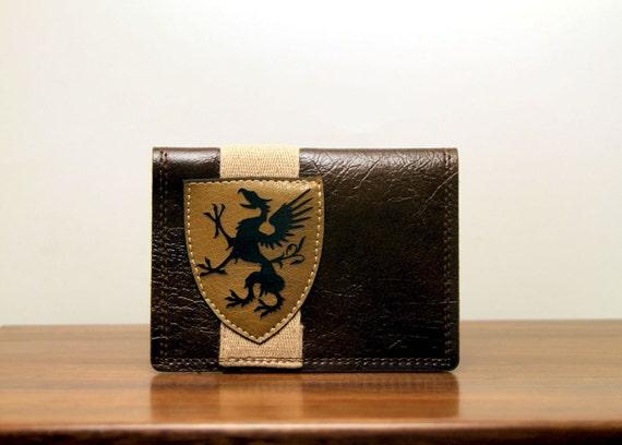 "men's wallet / card case - ""harvard yard"" : tan on rich brown vegan leather"