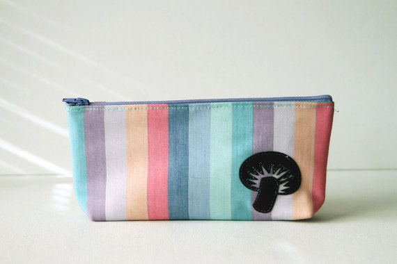 "pastel rainbow clutch : purple mushroom on candy-colored stripes - ""somewhere over the rainbow"""