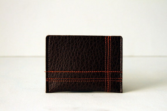 "minimalist wallet / card case : orange on brown - ""off the grid"""