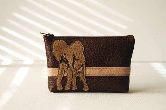"elephant mini clutch : ""born to be wild"" - tan on chocolate brown pleather"