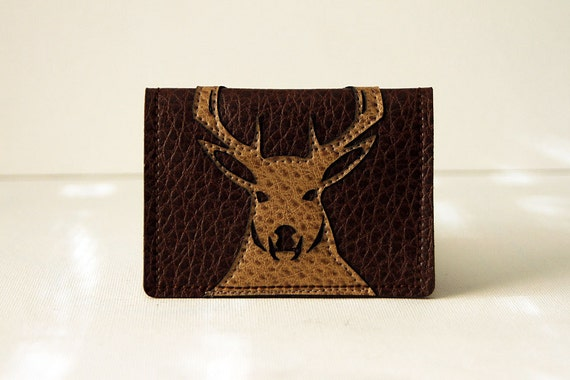 """men's wallet / card case - """"stag party"""" : tan deer / buck on brown leatherette"""