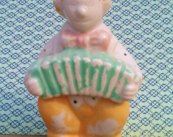 Vintage Shabby Clown with Accordian Figurine