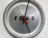 1960 - 1963 Ford Falcon Hubcap Clock - Ranchero - Classic Car Clock - Silver with Black Letters