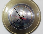 1936 Ford V8 Hubcap Clock - Hammered Gold Car Wall Clock - Kitchen Clock - Eco Decor
