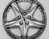 Upcycled Hubcap Clock - Car Clock - Silver and Chrome