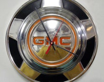1976 - 1987 GMC CK Pickup Truck Hubcap Wall Clock - Dad's Garage - Mens Gift